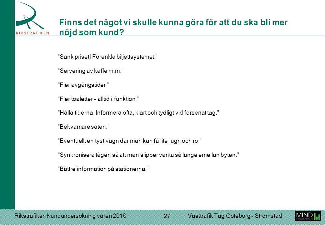 """Rikstrafiken Kundundersökning våren 2010Västtrafik Tåg Göteborg - Strömstad 27 """"Sänk priset! Förenkla biljettsystemet."""" """"Servering av kaffe m.m."""" """"Fle"""