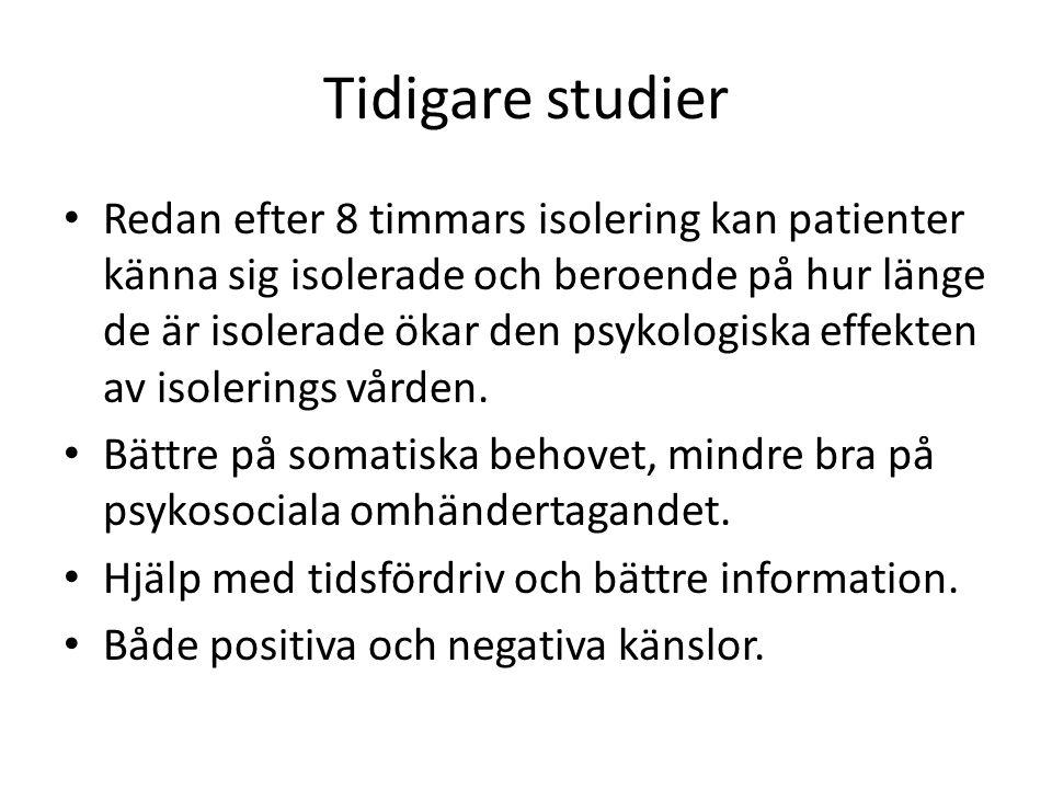 Tidigare studier Redan efter 8 timmars isolering kan patienter känna sig isolerade och beroende på hur länge de är isolerade ökar den psykologiska effekten av isolerings vården.