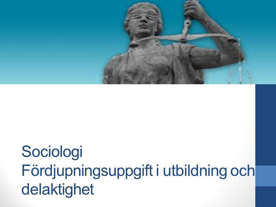 Ekonomi/Juridik programmet Sociologi Fördjupningsuppgift i utbildning och delaktighet