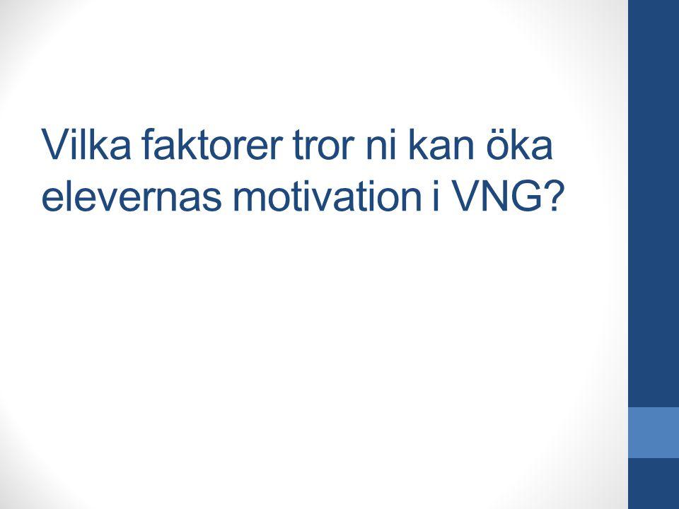 Vilka faktorer tror ni kan öka elevernas motivation i VNG