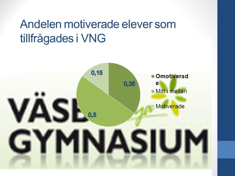 Andelen motiverade elever som tillfrågades i VNG