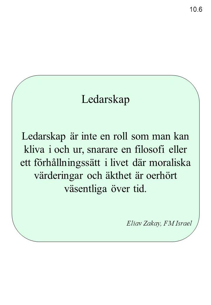 Ledarskap Ledarskap är inte en roll som man kan kliva i och ur, snarare en filosofi eller ett förhållningssätt i livet där moraliska värderingar och ä