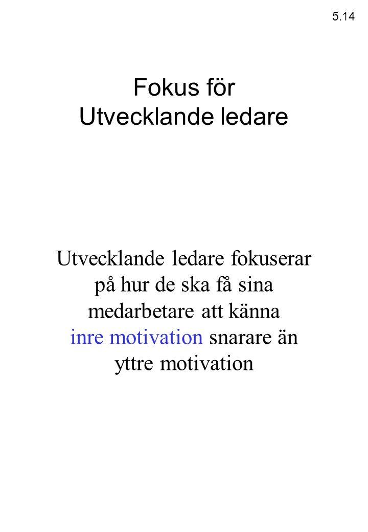 Fokus för Utvecklande ledare Utvecklande ledare fokuserar på hur de ska få sina medarbetare att känna inre motivation snarare än yttre motivation 5.14