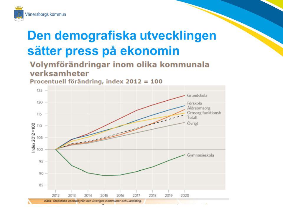 Vänersborgs kommun – attraktiv och hållbar i alla delar, hela livet Den demografiska utvecklingen sätter press på ekonomin