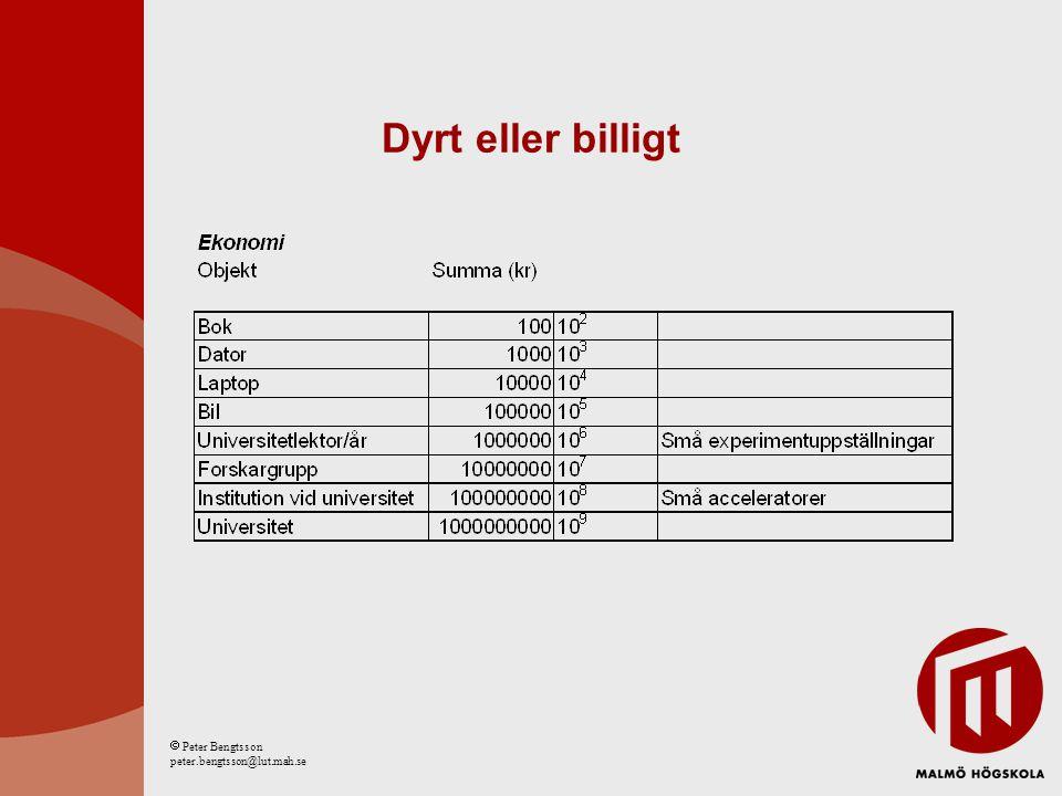 Dyrt eller billigt  Peter Bengtsson peter.bengtsson@lut.mah.se