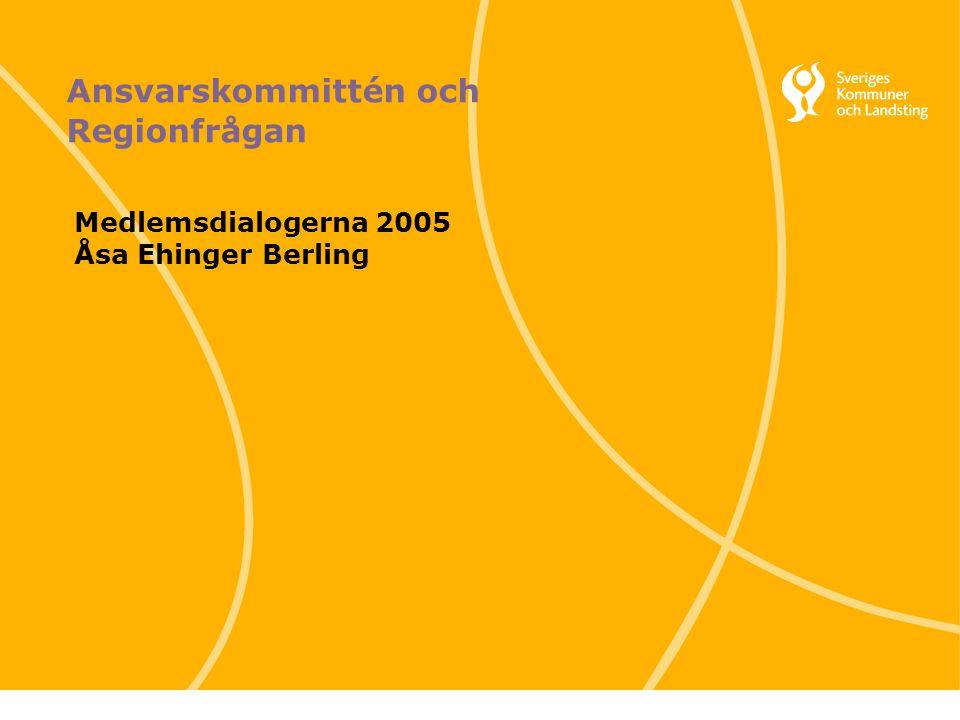 1 Svenska Kommunförbundet och Landstingsförbundet i samverkan Ansvarskommittén och Regionfrågan Medlemsdialogerna 2005 Åsa Ehinger Berling