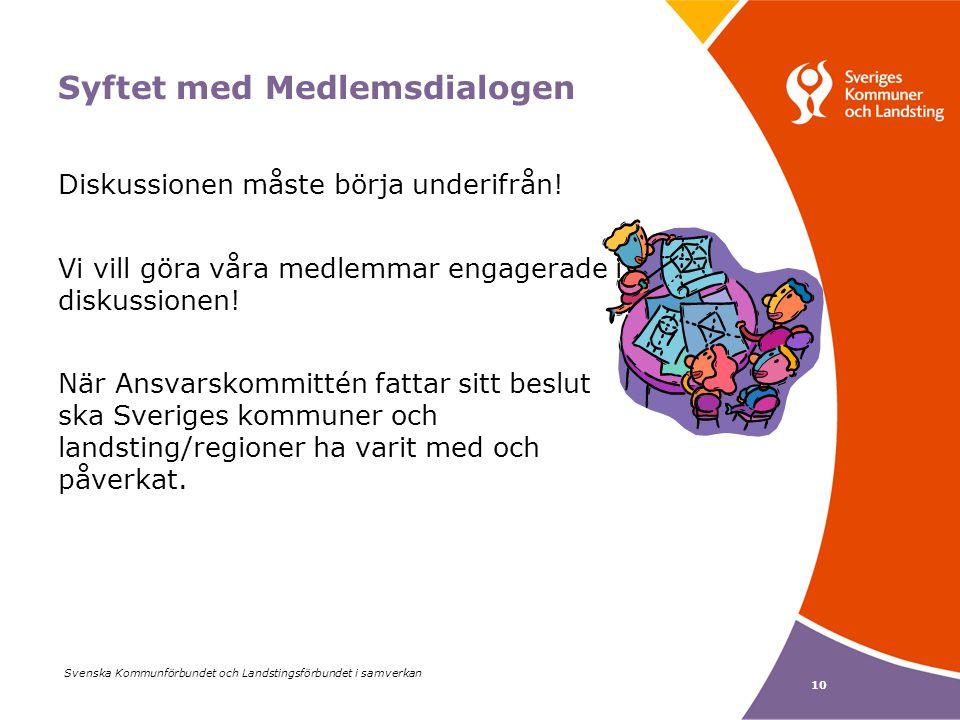 Svenska Kommunförbundet och Landstingsförbundet i samverkan 10 Syftet med Medlemsdialogen Diskussionen måste börja underifrån.