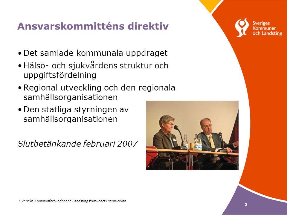 Svenska Kommunförbundet och Landstingsförbundet i samverkan 2 Ansvarskommitténs direktiv Det samlade kommunala uppdraget Hälso- och sjukvårdens struktur och uppgiftsfördelning Regional utveckling och den regionala samhällsorganisationen Den statliga styrningen av samhällsorganisationen Slutbetänkande februari 2007