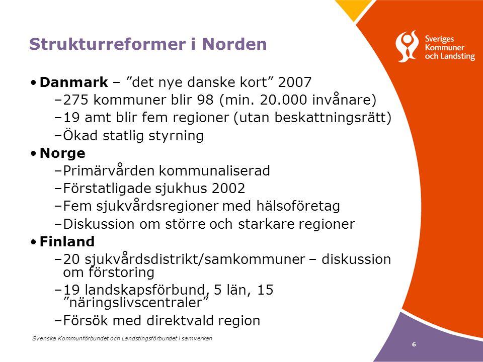 Svenska Kommunförbundet och Landstingsförbundet i samverkan 6 Strukturreformer i Norden Danmark – det nye danske kort 2007 –275 kommuner blir 98 (min.