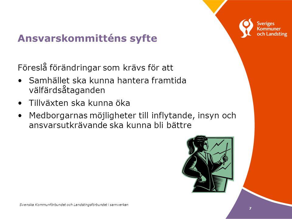 Svenska Kommunförbundet och Landstingsförbundet i samverkan 7 Ansvarskommitténs syfte Föreslå förändringar som krävs för att Samhället ska kunna hantera framtida välfärdsåtaganden Tillväxten ska kunna öka Medborgarnas möjligheter till inflytande, insyn och ansvarsutkrävande ska kunna bli bättre