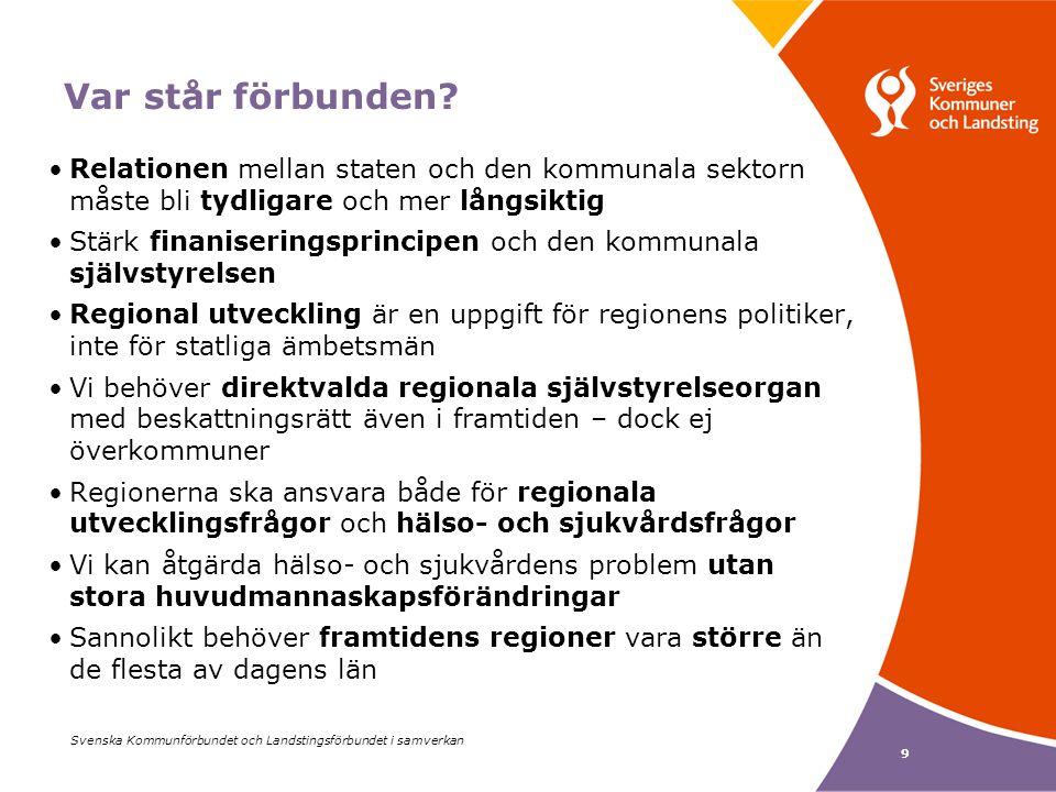 Svenska Kommunförbundet och Landstingsförbundet i samverkan 9 Var står förbunden.