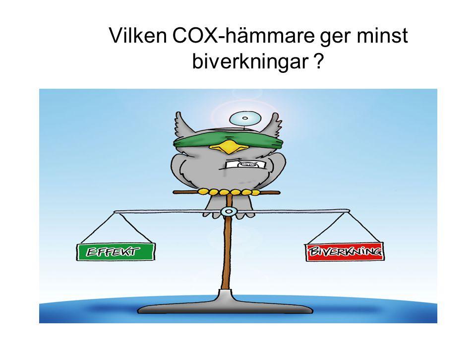 Vilken COX-hämmare ger minst biverkningar ?