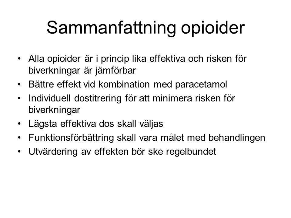 Sammanfattning opioider Alla opioider är i princip lika effektiva och risken för biverkningar är jämförbar Bättre effekt vid kombination med paracetam