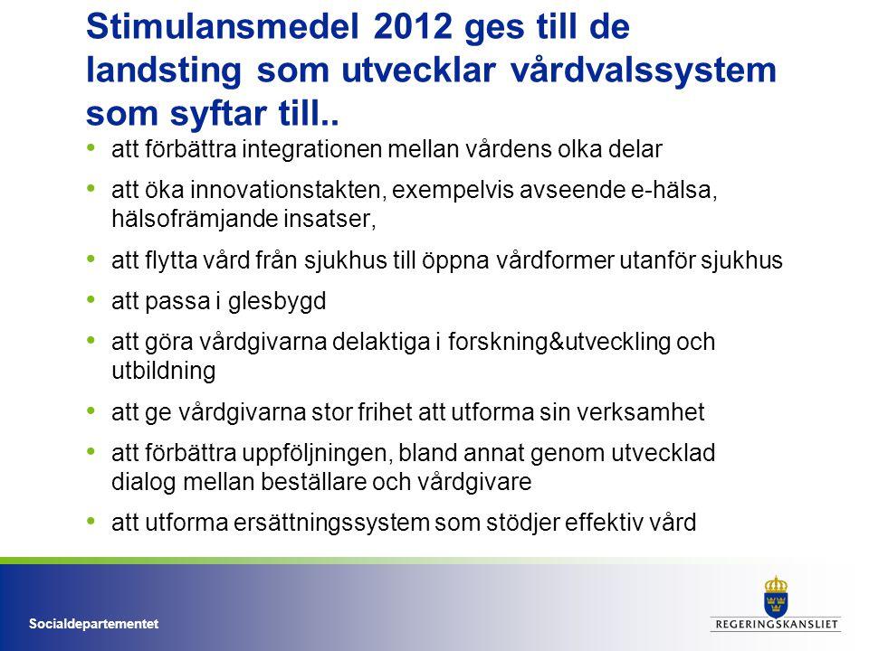 Socialdepartementet Stimulansmedel 2012 ges till de landsting som utvecklar vårdvalssystem som syftar till.. att förbättra integrationen mellan vården