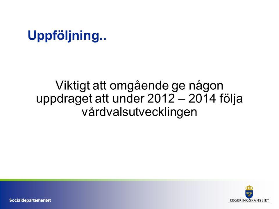 Socialdepartementet Uppföljning.. Viktigt att omgående ge någon uppdraget att under 2012 – 2014 följa vårdvalsutvecklingen