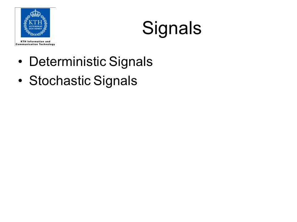 Signals Deterministic Signals Stochastic Signals