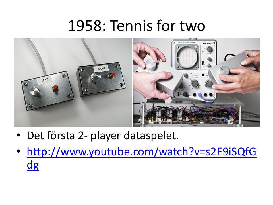 1958: Tennis for two Det första 2- player dataspelet. http://www.youtube.com/watch?v=s2E9iSQfG dg http://www.youtube.com/watch?v=s2E9iSQfG dg