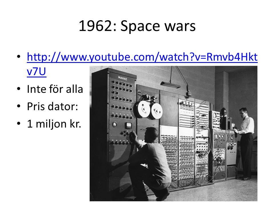 1962: Space wars http://www.youtube.com/watch?v=Rmvb4Hkt v7U http://www.youtube.com/watch?v=Rmvb4Hkt v7U Inte för alla Pris dator: 1 miljon kr.