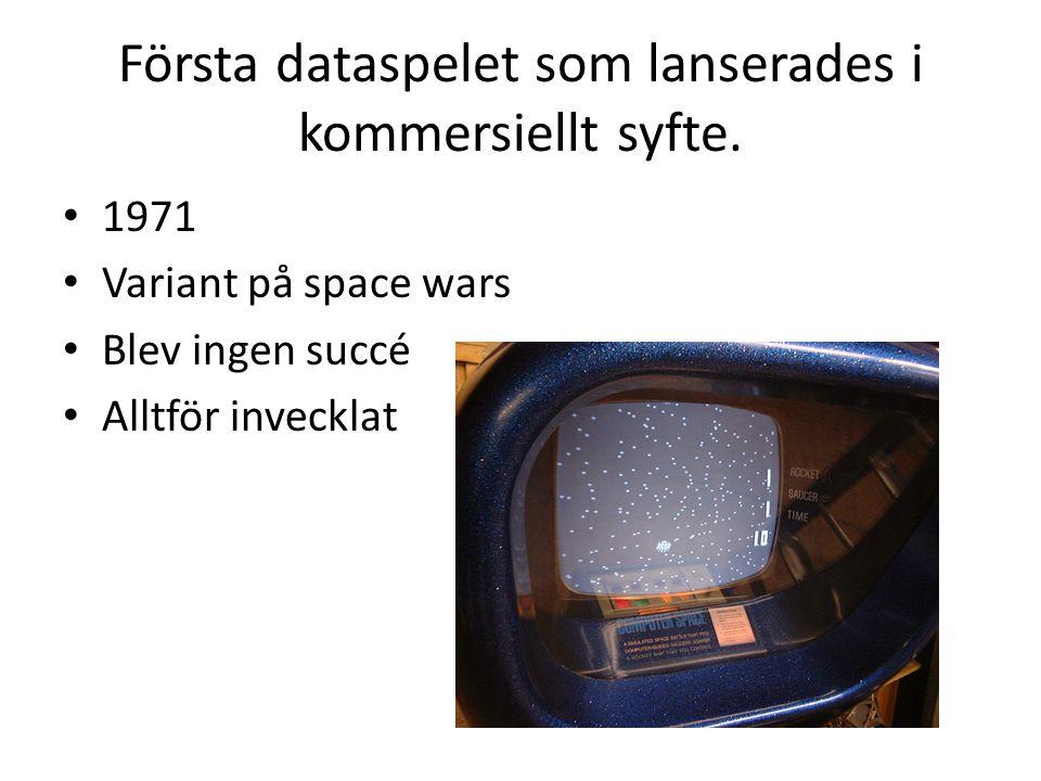 Första dataspelet som lanserades i kommersiellt syfte. 1971 Variant på space wars Blev ingen succé Alltför invecklat