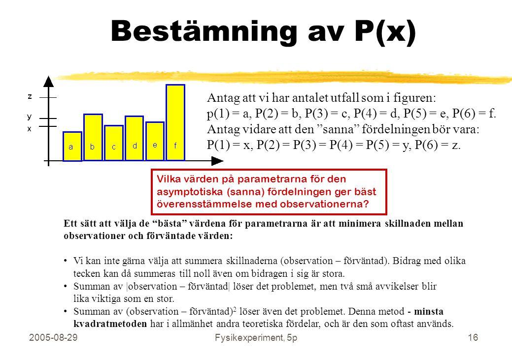2005-08-29Fysikexperiment, 5p16 Bestämning av P(x) Antag att vi har antalet utfall som i figuren: p(1) = a, P(2) = b, P(3) = c, P(4) = d, P(5) = e, P(6) = f.