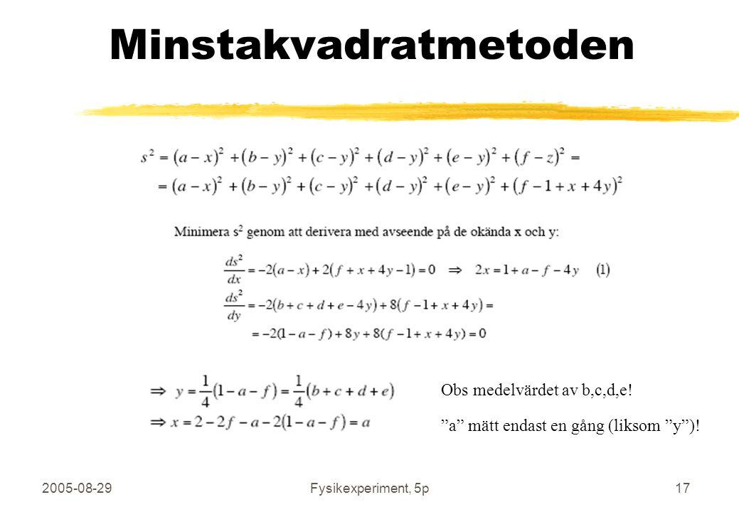 2005-08-29Fysikexperiment, 5p17 Minstakvadratmetoden Obs medelvärdet av b,c,d,e.