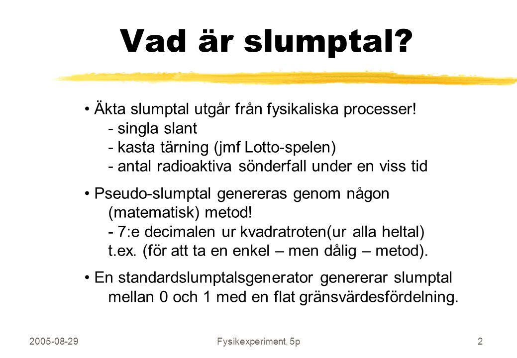 2005-08-29Fysikexperiment, 5p3 Slumptal mellan 0 och 1 10 slumptal (bin=1/1000) 100 slumptal (bin=1/1000) 1 000 slumptal (bin=1/1000) 10 000 000 slumptal (bin=1/10000) Funktionen rand() i MatLab