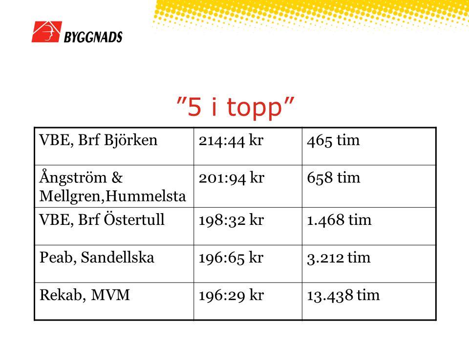 5 i topp VBE, Brf Björken214:44 kr465 tim Ångström & Mellgren,Hummelsta 201:94 kr658 tim VBE, Brf Östertull198:32 kr1.468 tim Peab, Sandellska196:65 kr3.212 tim Rekab, MVM196:29 kr13.438 tim