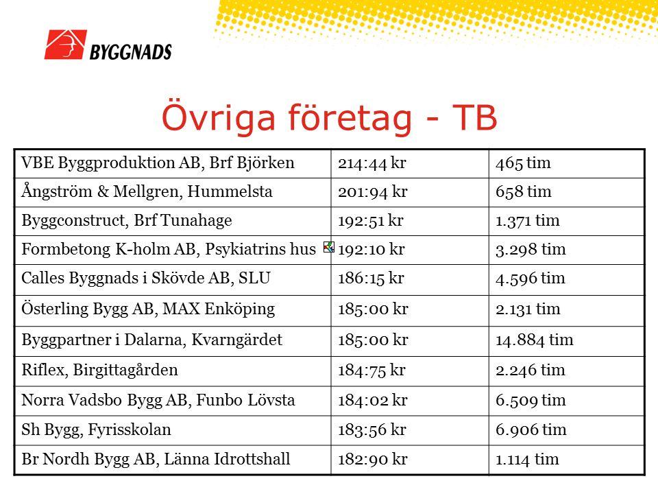 Övriga företag - TB VBE Byggproduktion AB, Brf Björken214:44 kr465 tim Ångström & Mellgren, Hummelsta201:94 kr658 tim Byggconstruct, Brf Tunahage192:5
