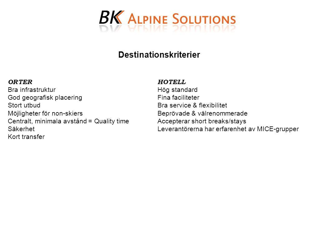 Destinationskriterier ORTERHOTELL Bra infrastrukturHög standard God geografisk placeringFina faciliteter Stort utbudBra service & flexibilitet Möjligh