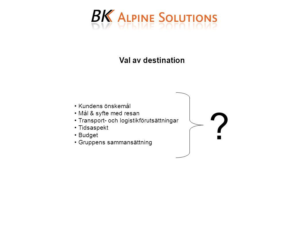 Val av destination Kundens önskemål Mål & syfte med resan Transport- och logistikförutsättningar Tidsaspekt Budget Gruppens sammansättning ?
