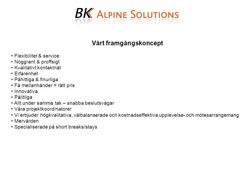 Vårt framgångskoncept Flexibilitet & service Noggrant & proffsigt Kvalitativt kontaktnät Erfarenhet Påhittiga & finurliga Få mellanhänder = rätt pris