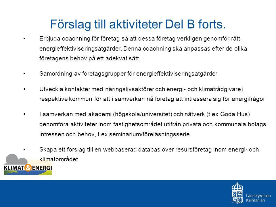 Förslag till aktiviteter Del B forts.