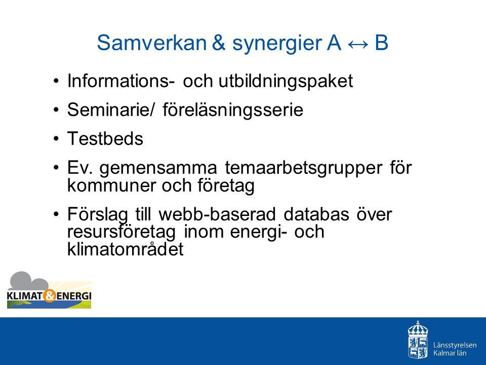 Samverkan & synergier A ↔ B Informations- och utbildningspaket Seminarie/ föreläsningsserie Testbeds Ev.