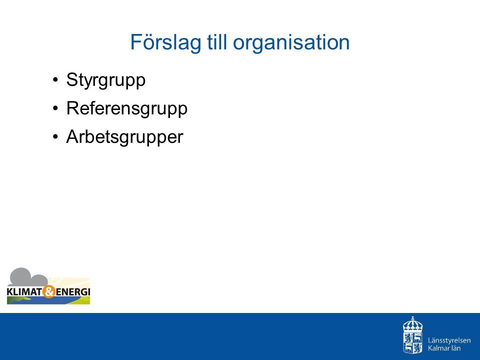 Förslag till organisation Styrgrupp Referensgrupp Arbetsgrupper