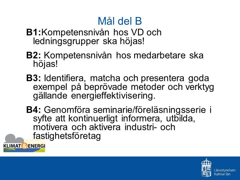 Mål del B B1:Kompetensnivån hos VD och ledningsgrupper ska höjas.
