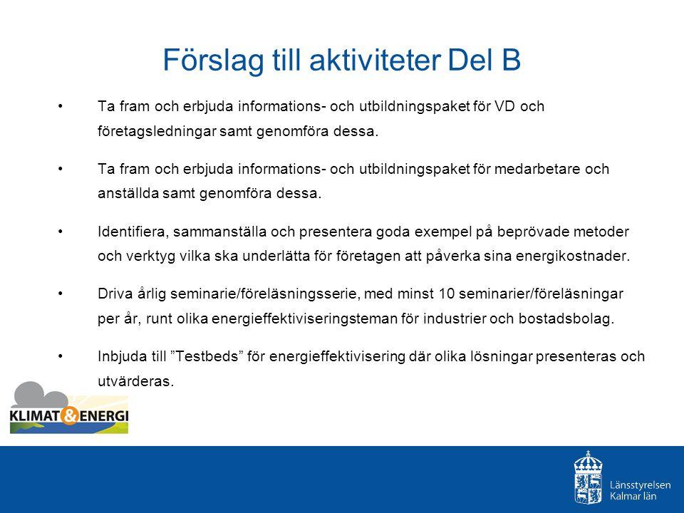 Förslag till aktiviteter Del B Ta fram och erbjuda informations- och utbildningspaket för VD och företagsledningar samt genomföra dessa.