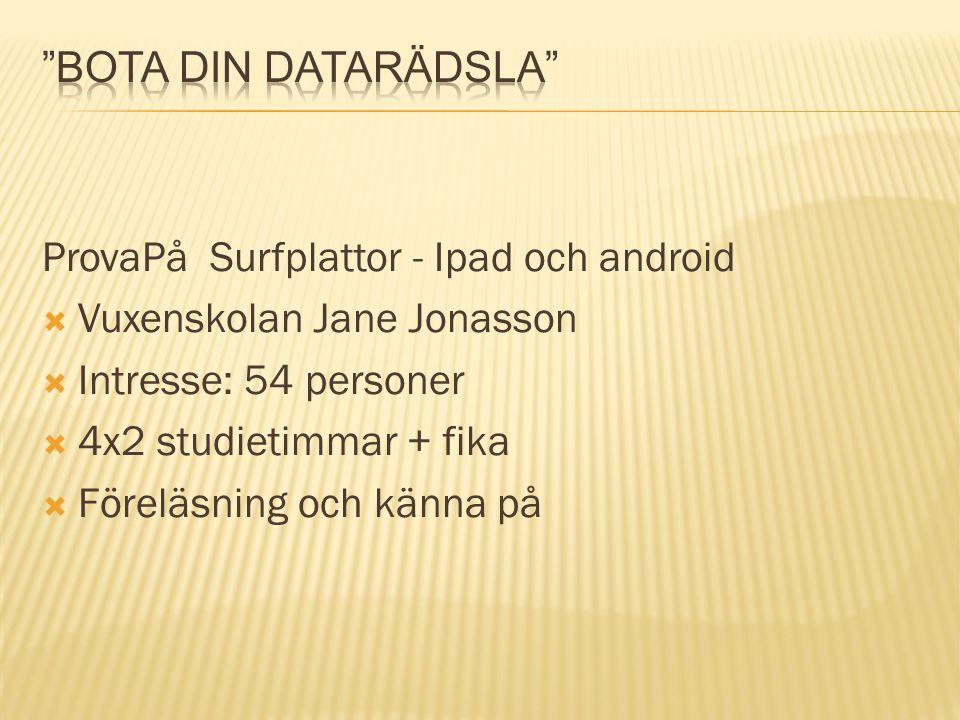ProvaPå Surfplattor - Ipad och android  Vuxenskolan Jane Jonasson  Intresse: 54 personer  4x2 studietimmar + fika  Föreläsning och känna på