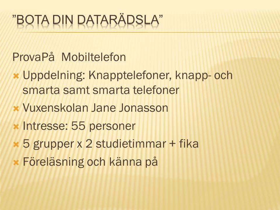 ProvaPå Mobiltelefon  Uppdelning: Knapptelefoner, knapp- och smarta samt smarta telefoner  Vuxenskolan Jane Jonasson  Intresse: 55 personer  5 gru
