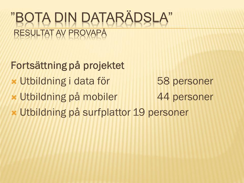 Fortsättning på projektet  Utbildning i data för58 personer  Utbildning på mobiler44 personer  Utbildning på surfplattor19 personer
