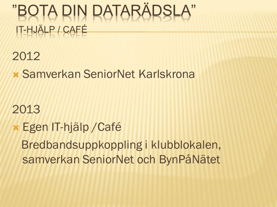 2012  Samverkan SeniorNet Karlskrona 2013  Egen IT-hjälp /Café Bredbandsuppkoppling i klubblokalen, samverkan SeniorNet och BynPåNätet
