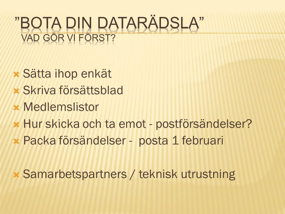  Sätta ihop enkät  Skriva försättsblad  Medlemslistor  Hur skicka och ta emot - postförsändelser?  Packa försändelser - posta 1 februari  Samarb