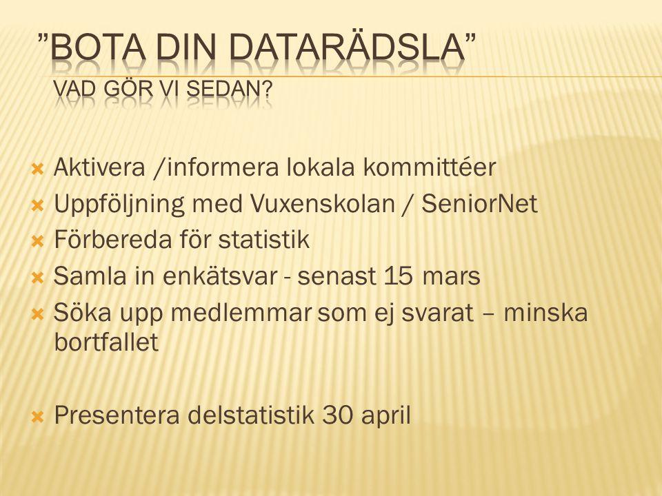  Aktivera /informera lokala kommittéer  Uppföljning med Vuxenskolan / SeniorNet  Förbereda för statistik  Samla in enkätsvar - senast 15 mars  Sö