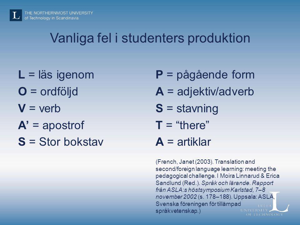 Vanliga fel i studenters produktion L = läs igenom O = ordföljd V = verb A' = apostrof S = Stor bokstav P = pågående form A = adjektiv/adverb S = stavning T = there A = artiklar (French, Janet (2003).