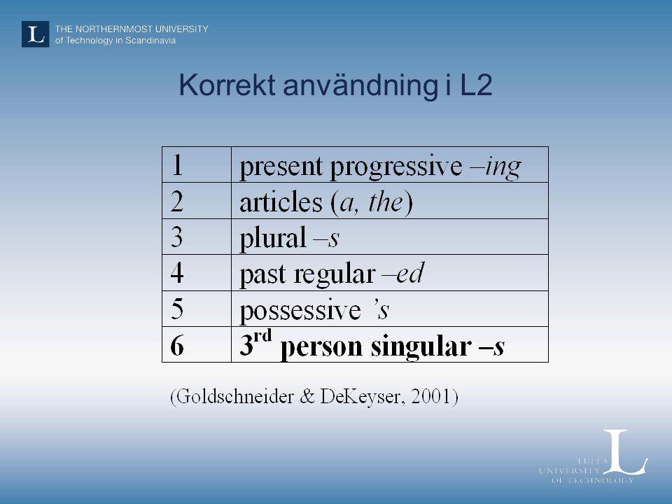 Korrekt användning i L2