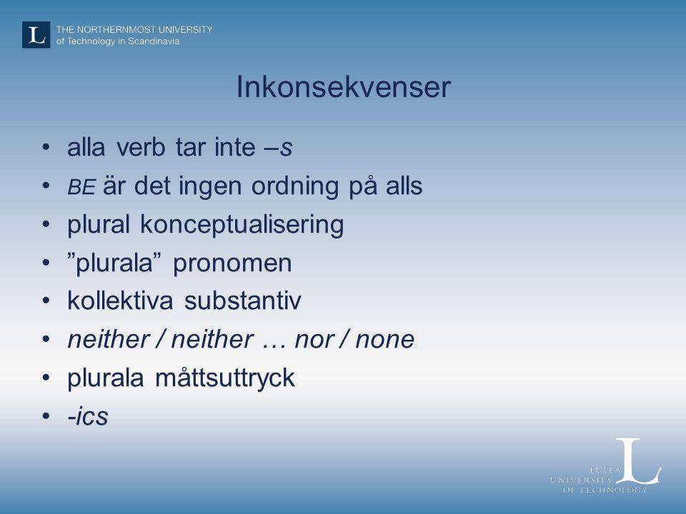 Inkonsekvenser alla verb tar inte –s BE är det ingen ordning på alls plural konceptualisering plurala pronomen kollektiva substantiv neither / neither … nor / none plurala måttsuttryck -ics