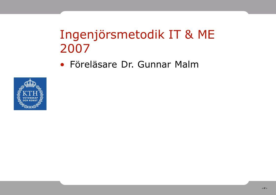 1 Ingenjörsmetodik IT & ME 2007 Föreläsare Dr. Gunnar Malm