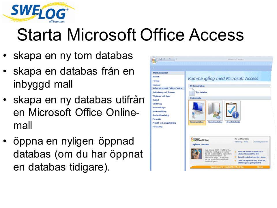 Starta Microsoft Office Access skapa en ny tom databas skapa en databas från en inbyggd mall skapa en ny databas utifrån en Microsoft Office Online- m