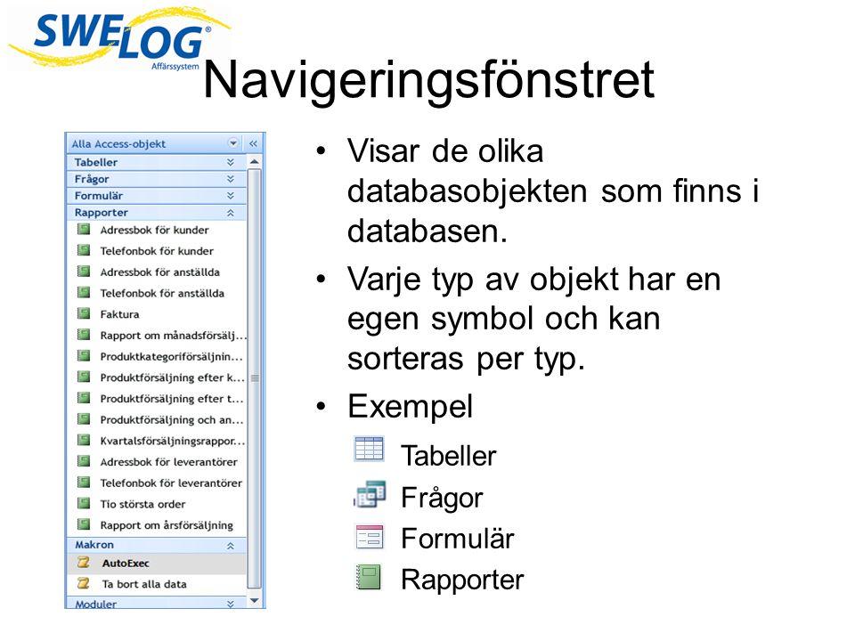 Navigeringsfönstret Visar de olika databasobjekten som finns i databasen. Varje typ av objekt har en egen symbol och kan sorteras per typ. Exempel Tab