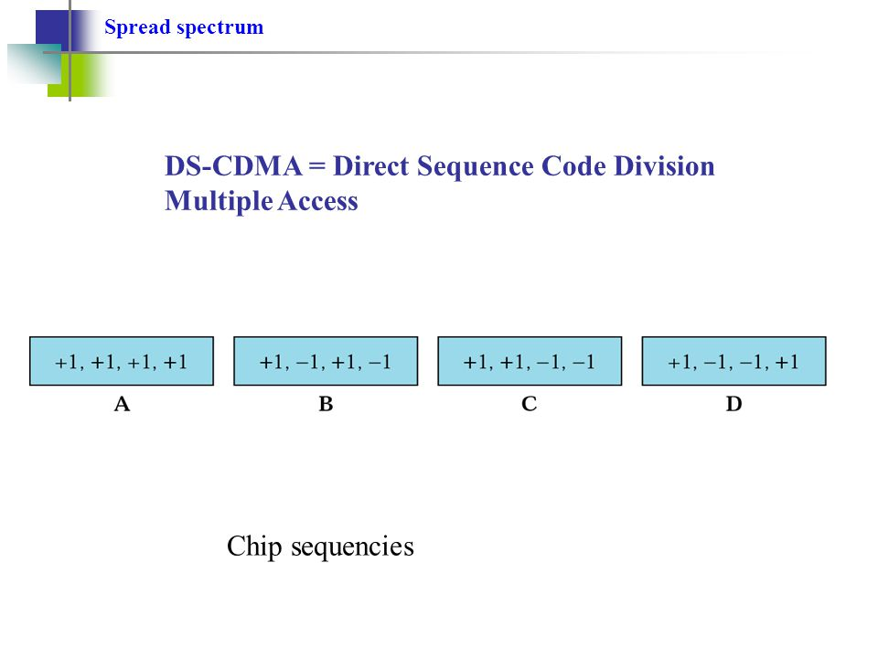 Spread spectrum DS-CDMA = Direct Sequence Code Division Multiple Access Chip sequencies