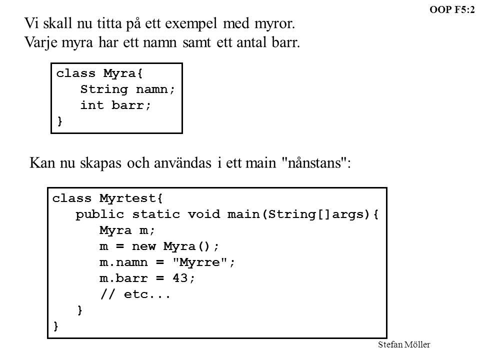 OOP F5:2 Stefan Möller Vi skall nu titta på ett exempel med myror. Varje myra har ett namn samt ett antal barr. class Myra{ String namn; int barr; } K